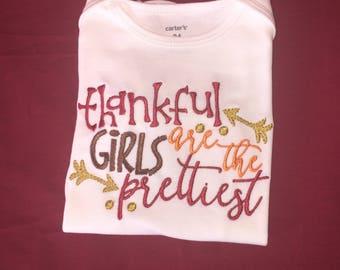 Girls thanksgiving shirt, thankful girls, thanksgiving shirt, thanksgiving embroidery shirt, first thanksgiving, baby thanksgiving, turkey