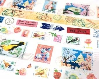 4 rolls postage stamp Washi tape travel themed postage stamp chop vintage travel stamp vector travel chop passport stamp sticker tape gift