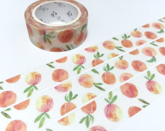 peach fruit washi tape 5M nature fruit sweet fruit orange peach with leaf masking tape fruit party deco sticker tape gift wrapping tape gift