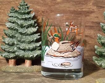 Georges Briard Rocks Glass- Vintage Barware, Mallard Duck, Bird Glass, Vintage Drinkware, Waterfowl, Gift for him