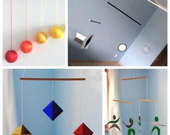 Set of 4 Montessori inspired mobiles. Glass Munari, Gobbi, Octahedron, Dancer Mobile.  Essential Montessori mobiles.