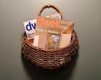 Woven wood wall hanging basket