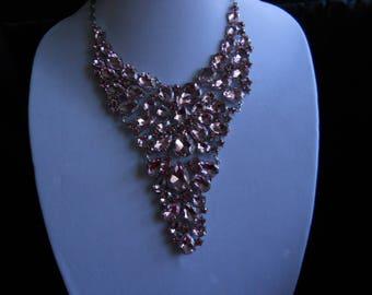 Pink Rhinestone Bib Necklace #683
