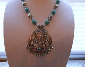 Desinger Turquoise Stainless Steel Necklace #&48