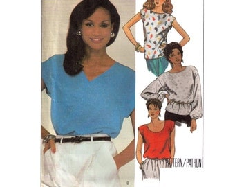 McCall's 9507, 80s sewing pattern size small, women's top patern, c neck top, short sleeve round neck