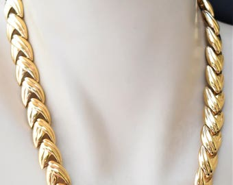 Vintage Krementz Articulated Choker Necklace Gold Tone Retro Signed Costume Estate Jewelry 18""