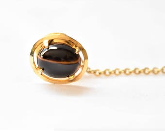 Vintage Tiger's Eye Tie Tack Pin Bar and Chain Gold Tone Men's Retro Tie Suit Formal Wear Accessories Jewelry Gift