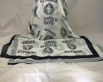 A Beautiful Vintage Versace White & Black Long Scarf 61.5 x 21 Inches