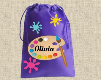 """Art Party-10 Personalized Favor Bags, ART Themed Party, Drawstring Bags 6.5"""" x 9"""" inches"""