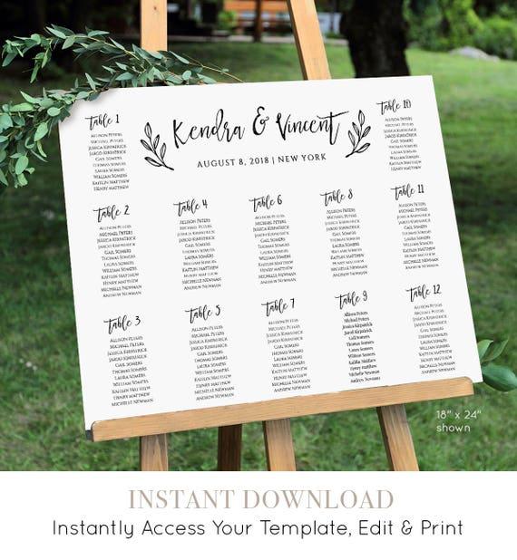 Seating Chart Template, Printable Seating Plan, Instant Download, Printable, 100% Editable Template, Rustic Wedding, Digital, DIY #018-214SC