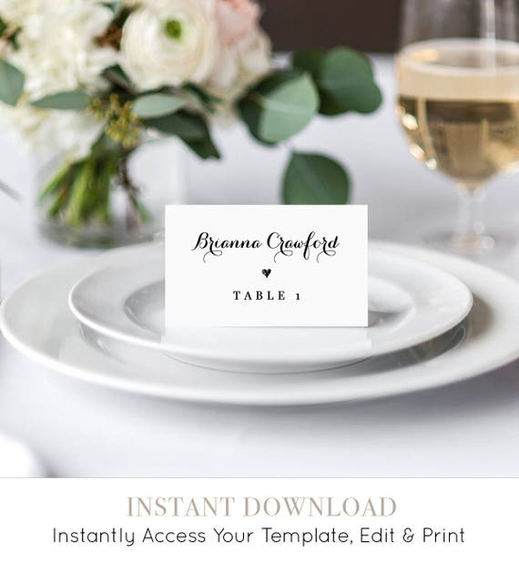 Wedding Place Card Template, Printable Escort Card, Name Card, Seating Card, Table Number, Instant Download, 100% Editable, DIY #NC-106PC