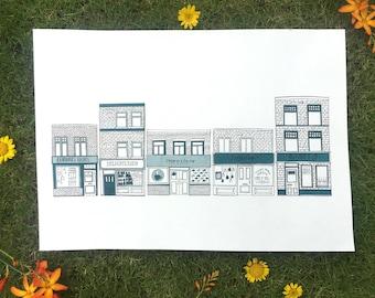 Risograph Print - Teal Street - Peckish Avenue | Lucy Littler