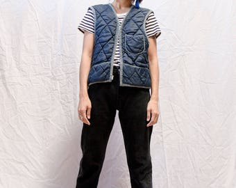 Quilted Workwear Blue Vest - S / M