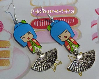 Earrings in sterling silver 925 blue red chibi kawaii kokeshi doll girl hand-painted crazy plastic crazy fan