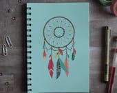 NOTEBOOK. A5 Cute Blue Dreamcatcher Spiral Notebook. Soft 300 gsm Card Cover. 120 lined pages. Matte lamination pleasant to the touch.