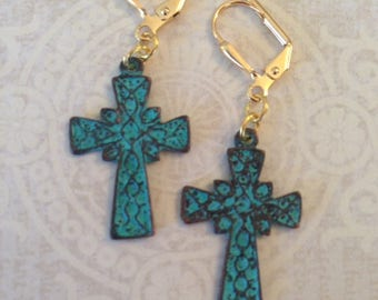 Rustic Patina Cross Earrings with Lever Backs