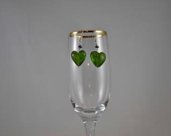 Green earrings, Heart earrings, Lampwork glass earrings, Dangle earrings, Hemalyke earrings