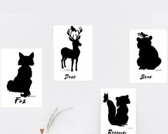 Woodland nursery prints, woodland nursery decor, woodland animal print, nursery decor woodland, woodland animal nursery, Woodland wall print