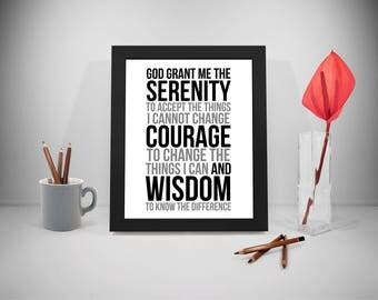 Serenity Prayer, Serenity Prayer Wall Art, God Grant Me The Serenity, Serenity Prayer Quote, Serenity Prayer Printable, Prayer Quote