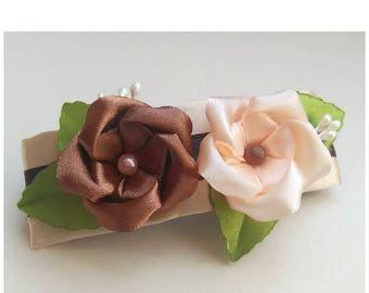 Satin french barrette brown and beige/Kanzashi flower hair clip/Original Hair Accessory