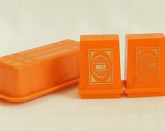 Vintage Retro Orange Plastic Salt Pepper Shaker, Covered Butter Dish, Camping Set, Mid Century Mod, Cookouts, Tailgating, Outdoor Parties