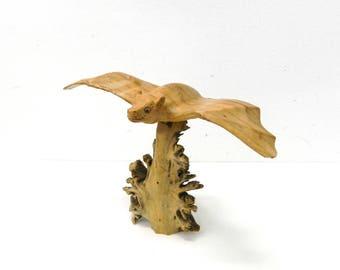 Vintage 1960s Wood Flying Bat...Hand Carved Bat on Driftwood...Happy Bat...Unusual Hand Made...Halloween Decor...Man Cave Lodge Cabin