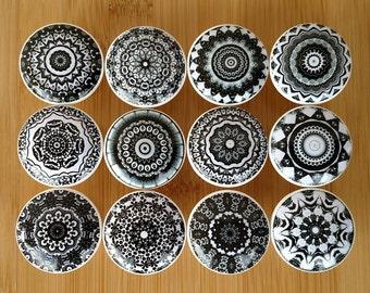 Black White Mandala Wood Drawer Knob on Cherry Wood Knob Dresser Knob Drawer Pull Furniture, Size 1.5 x 1.18