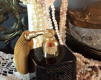Vintage 1950 French perfume atomizer bottle black glass square shape