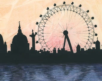 London Skyline Watercolor Print