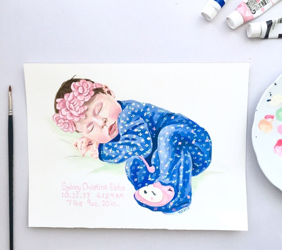 Baby Newborn Young Child Portrait Modern Contemporary Realistic Illustration Painting Nursery Gift Gouache