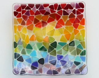 """Rainbow fused glass bowl, 6"""" square glass dish for keys, trinkets or just to add colour to your room!"""