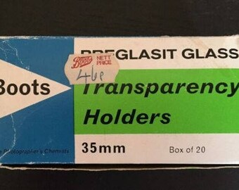 Boots Vintage 35mm Transparency Holders x 17 Glass for Photography