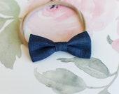 Baby Headband, Baby Bow, Nylon Baby Headband, Baby Girl Headband, Newborn Headband, Girls Headband, Hair Bow, Mac Bow, Blue Bow Headband