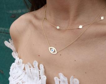 Evil Eye Necklace, Evil Eye Pendant, Evil Eye Charm, Gold Necklaces, Circles Necklace, Gold Filled Necklaces, by Christina Christi Jewels.