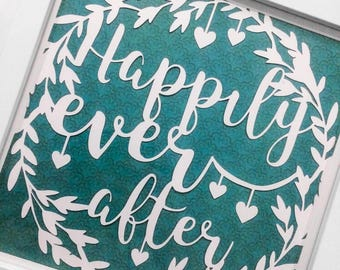 Wedding Gift Papercut, Engagement Gift, Wedding Frame Gift, Happily Ever After, New Home Gift, Housewarming Gift, Gift for Newlywed