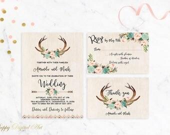 Boho Wedding Invitation Printable Antlers Wedding Invitation Suite Floral Deer Wedding Invite Rustic Woodland Wedding Invitation Template