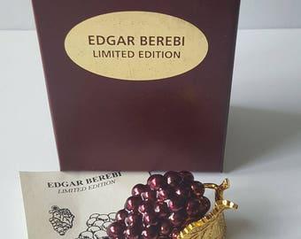 Edgar Berebi Enameled Grape Trinket Box & Pendant, Gold Tone Limited Edition Grape Box, In Original Box