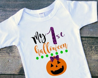 My first Halloween pumpkin baby girl bodysuit