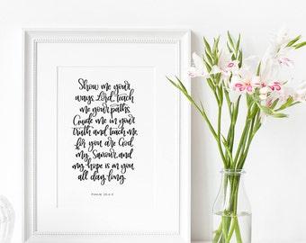 Christian Gifts | Christian Wall Art | Psalm 25 | Christian Prints | Scripture | Wall Art | Home Decor | Make Today Beautiful