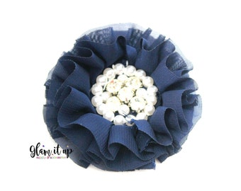 Chiffon Flowers-Pearl chiffon flowers-ruffle chiffon flowers-3.5 in flowers-headband flowers-flowers for headbands-diy headband-navy