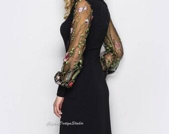 Spring Office dress Black Dress casual wear Midi gown Long sleeve dress Womens dress lace sleeve Knee gown Marsala dress Office