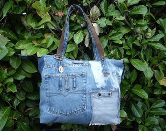 Tote bag zipped patchwork jeans leather handles