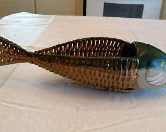 vintage wicker woven fish basket / planter tray - ceramic head hand painted - centerpiece rattan fishing tackle box lures fisherman decor
