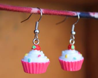 Cupcake Earrings, Food Earrings, Birthday Earrings, Pink Cupcake Earrings, Kawaii Earrings, Kitsch Earrings, Sprinkles, Strawberry On Top