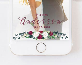 WEDDING SNAPCHAT GEOFILTER, Snapchat Geofilter Wedding, Wedding Day Geofilter, Personalized Wedding Filter,Floral Geofilter,Botanical Filter