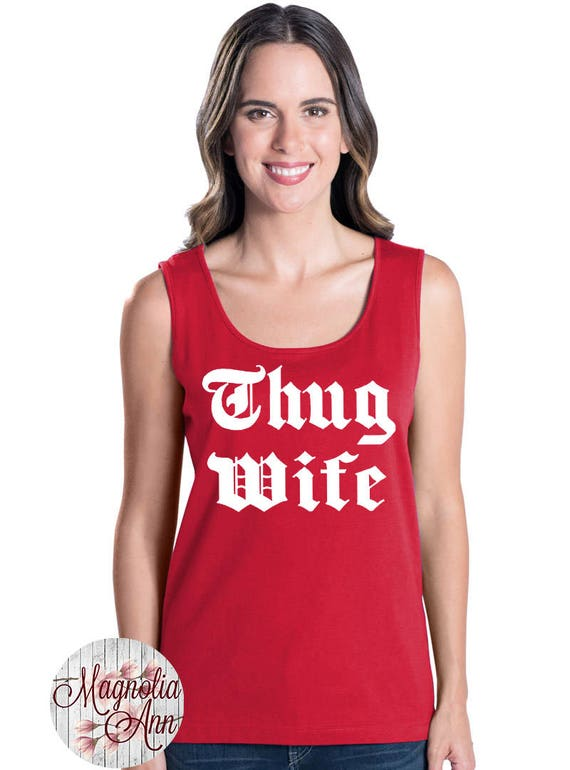 Thug Wife, Women's Premium Jersey Tank Top in Sizes Small-4X, Plus Sizes, Curvy, Lots of Colors