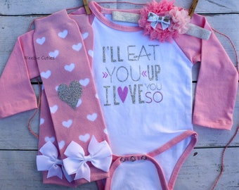 Baby Girl Clothes, Baby Girl Outfit, Baby Girl Take Home Hospital Outfit, Baby Girl Ill Eat You Up I Love You So Outfit, Preemie Girl Outfit