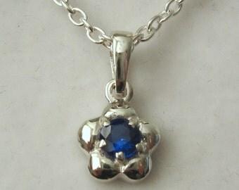 Genuine SOLID 925 Sterling Silver September Birthstone Daisy Sapphire Pendant