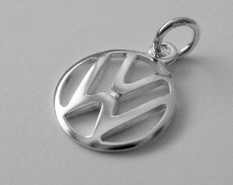 15 mm Genuine Solid 925 STERLING SILVER 3D Volkswagen VW Sign Logo Car charm/pendant