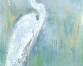 Regal White: Fine art white egret print from an original white egret acrylic painting
